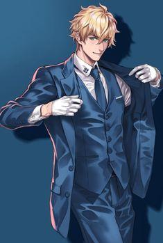 Hot Anime Boy, Cute Anime Guys, Fantasy Characters, Anime Characters, Character Concept, Character Art, Animes Emo, Suit Drawing, Handsome Anime Guys