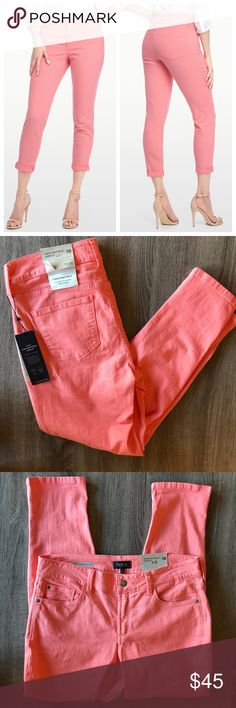 """NWT NYDJ Alina Convertible Ankle Pale Guave Jeans Brand new with tags classic pale guava Alina jeans with a convertible ankle.  Wear the jeans rolled or unrolled at the hem.  These Alina jeans are a peach / pink color.  Brand new condition.  - Size 10 - Approx. 16.5"""" across waist - Approx. 28"""" inseam - Approx. 10.5"""" front rise - Approx. 6"""" leg opening NYDJ Jeans Skinny"""