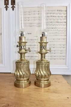 Large Pair Victorian French Brass Oil Lamps with Carcel