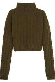 Mud cropped twill-paneled cable-knit wool-blend sweater