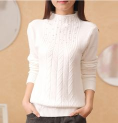 2015 women s turtleneck sweater female thickening pullover basic shirt long sleeve sweater with bead