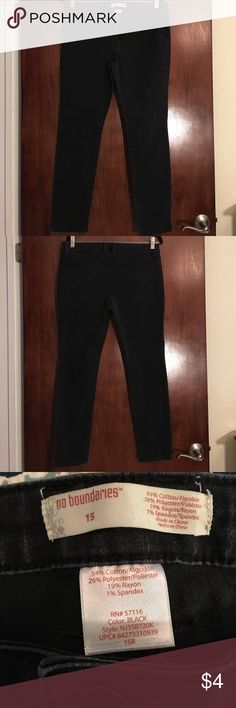 No Boundaries skinny jeans size 15, inseam 28 1/2 No Boundaries skinny jeans size 15, inseam 28 1/2 inches, faded, red paint stain shown in pic, sunglasses and top not included No Boundaries Jeans Skinny