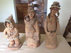 Pottery Sculpture, Grandmothers, Vintage Artwork, Vintage Pottery, Buddha, Sculptures, Statue, Wool, Painting