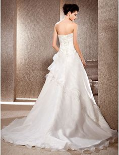 A-line Strapless Court Train Organza And Lace Wedding Dress, wedding dresses sale Free shipping, wedding dresses, a line wedding dresses ff730828
