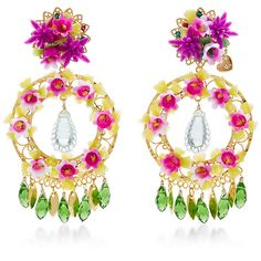 Mercedes Salazar Fiesta Flower Earrings (634.895 COP) ❤ liked on Polyvore featuring jewelry and earrings