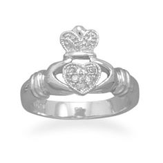 Rhodium Plated CZ Claddagh Ring