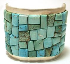 Old Pawn Navajo Kingman Turquoise Overlay Sterling Silver Cuff Bracelet - Tommy Jackson