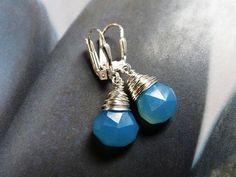 Blue chalcedony earrings silver dangles everyday wear