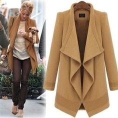 2 Colors Big lapel long coat jacket  woolen blouse plus size trench coat windcheater windcoat wool jacket woman winter coat.  185