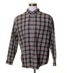 "ST. JOHN'S BAY Dark Army Green White Orange Plaid FLANNEL Button Shirt 50"" XL #StJohnsBay #ButtonFront"