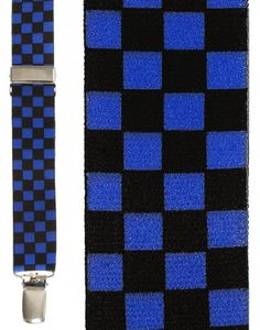 Black and Blue Checkers Suspenders
