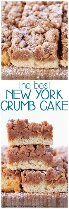 Best New York Crumb Cake Entenmann's Copycat Crumb Cake! Everyone will ask for the recipe - it's so good! The Best New York Crumb CakeEntenmann's Copycat Crumb Cake! Everyone will ask for the recipe - it's so good! The Best New York Crumb Cake 13 Desserts, Delicious Desserts, Yummy Food, Desserts For Potluck, New York Desserts, Jewish Desserts, Cinnamon Desserts, Potluck Ideas, Cinnamon Recipes