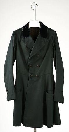 American frock coat, 1840s, wool (Brooklyn Museum Costume Collection at The Metropolitan Museum of Art)