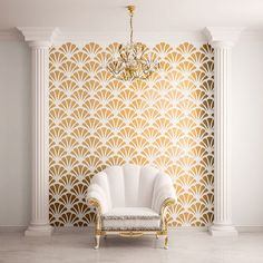 Scallop Shell Pattern Wall Stencil for House by MyWallStencils, $27.99