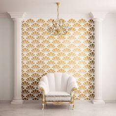 Scallop Shell Pattern parete Stencil per la decorazione della parete Allover (STL0010)