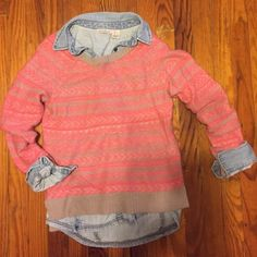 American Eagle pink and beige sweater Super soft and comfy American Eagle sweater. Worn once. No picks or snags. Excellent condition. No trades. No PayPal. American Eagle Outfitters Sweaters