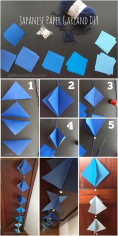 DIY: Easy Japanese Paper Garland - Petit Bout de Chou Japanese Paper Garland DIY: Blue gradation lozenges with silver beads – simple and so easy to do! Diy And Crafts Sewing, Crafts To Sell, Fun Crafts, Arts And Crafts, Diy Paper, Paper Crafts, Paper Glue, Origami Paper, Tissue Paper