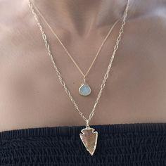 Aqua Druzy Julianna Necklace and Arrowhead Necklace #hechoenmexico #joyería #flecha #oro #druzy #dije #sayulitasol