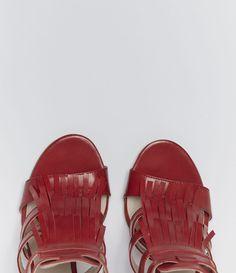 Damensandalette aus Echtleder mit Blockabsatz #poilei #shoes #red
