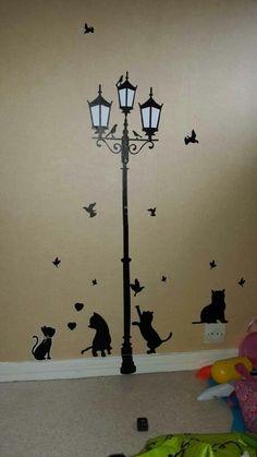 Frete Grátis Populares Antigos Lâmpada Gatos e Pássaros Adesivos de Parede Mural Home Decor Kids Room Decalques Wallpaper Loja Online | aliexpress móvel