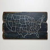 """Wood USA Wall Map at Cost Plus World Market >> Vintage Americana Collection """"Chalkboard"""" guestbook with white markers. Big wall decor couple can put in their house afterwards Fixer Upper Style, Up House, Farm House, Wall Maps, Do It Yourself Home, Looks Cool, Modern Wall, Wall Art Decor, Wall Decorations"""