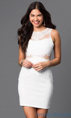 Sheer and Lace Embellished Short Dress - Brought to you by Avarsha.com