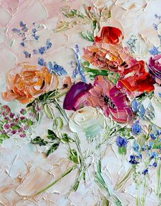 Original Oil Painting Flower Print Canvas by ForestSandandAir Oil Painting Flowers, Abstract Flowers, Texture Painting, Painting & Drawing, Painting Lessons, Flower Art, Watercolor Art, Oil Paintings, Palette Knife