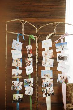 [おしゃれで簡単♪ ゲスト写真の飾り方アイデア] ふたりとゲストの関係はつるして飾って年代順にディスプレイ。数種類のリボンを使って簡単に可愛いく飾るワザ。生まれた時から今までのふたりとゲストの関係が分かるように、最初の1枚は生まれたての新生児の写真にすると分かりやすい。