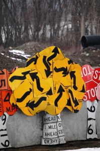 """Which Way? Tree - part of the """"Read Between the Signs"""" road sign art mural in Meadville, PA"""