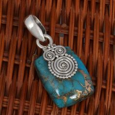 "925 STERLING SILVER LADIS BLUE COPPER TURQUOISE NEW PENDANT 4.95g P7127 L-1.3"" #Handmade #Pendant"