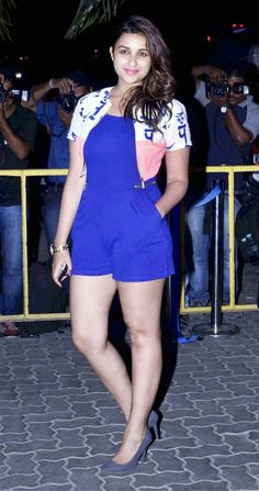 Parineeti Chopra wore a brightly coloured playsuit at Karan Johar's birthday bash. #Style #Bollywood #Fashion #Beauty