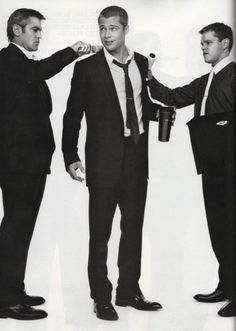 "Brad Pitt (1963- ) with George Clooney (1961- ), and Matt Damon (1970- ) - ""Ocean's Eleven"", 2001"