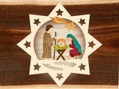 Wooden Christmas ornament Nativity