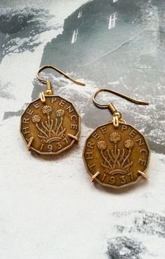 British Three Pence Brass Coin Earrings by sixstringphonic on Etsy