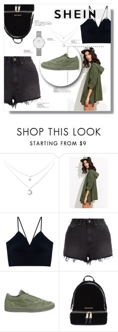 """Roll-Up Sleeve Drawstring Hooded Coat"" by lilibarbosa ❤ liked on Polyvore featuring Ksubi, Reebok, Michael Kors and Daniel Wellington"