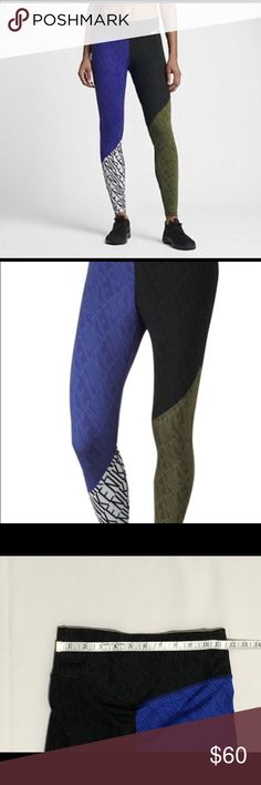 """Nike Power Legendary Print Mid-rise Tights Nike Power Legendary Engineered Print tights. Mid rise. Patchwork of """"NIKE"""" print over color blocking of black, blue, green, & white. Style 833069-512.   See photos for measurements.   G6 Nike Pants"""