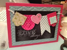 I just made this faux chalkboard card. Cases card from another pin from Inking Idaho.