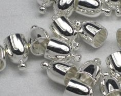 4 or More 6mm Bullet Silver Plated End Caps Kumihimo End Caps Bright Silver Plated Glue In 6 mm Silver End Leather End Caps Bullet Cord End