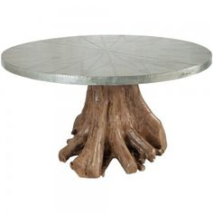 Enjoy a unique slice of nature on your patio or deck with the Teak Root Dining Table in Euro Teak Oil. The table features a metal-wrapped table top with a hand-tooled nail art design and trim. Shop rustic dining tables now. Pedestal Dining Table, Round Dining Table, Outdoor Dining, Outdoor Tables, Woodworking In An Apartment, Root Table, French Country Dining, Teak Oil, Al Fresco Dining