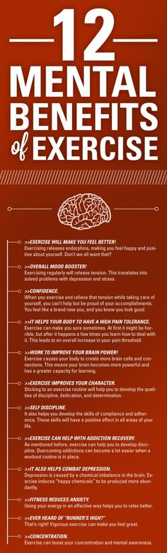 12 mental benefits of #exercise. #infographic #brain #neuroscience #endorphins #happiness #mood #depression #stress #emotion #tension #confidence #pain #perception #learning #discipline #determination #addiction #health #anxiety #concentration #Psychology