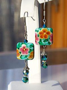 Floral Posies Lampwork Glass EARRINGS by JoannHayssenDesigns