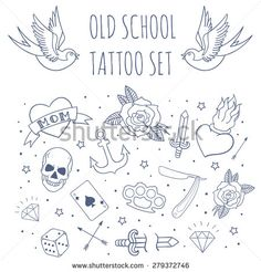 Old school tattoo set. Cartoon vector tattoo doodle elements: anchor, dagger, skull, flower, star, heart, diamond, swallow, star, brass knuckles . Light background