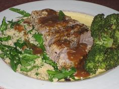 Seared Sesame Tuna with Orange Sauce Tuna Recipes, Home Recipes, Tuna Steaks, Ginger And Honey, Couscous, Meatloaf, Spinach, Seafood, Beef
