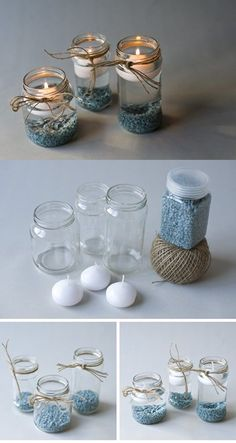 DIY blue candle holder