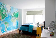 house tour teen bedroom world map