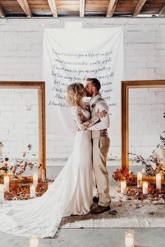rust wedding color ceremony backdrop with frames candles and flowers rachelantigua #wedding #weddings #weddingcolors #dpf #fallwedding #rusticweddings