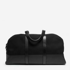 Our carry-on twill weekender bag has full-length leather straps and a contrast base that's screen printed 11 times for durability and protection against wet grass and dirty floors. 100% water-resistant cotton twill exterior Leather straps One exterior slip pocket and one interior zip pocket  Spot clean only