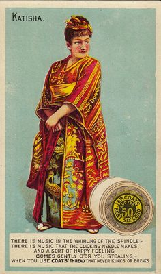 "J. & P. Coats trade card of Elsie Cameron as Katisha in the authorized American production of ""The Mikado"" at the Fifth Avenue Theater in New York, 1885"