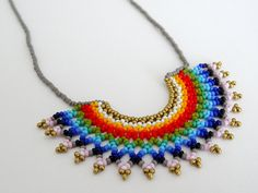 Peyote beaded Mexican RAINBOW HALF MOON Necklace by LucianaLavin