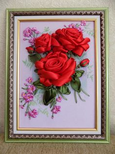 Алые розы. Вышивка лентами. Автор Разживалова Наталья